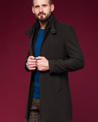 Мужское пальто с воротником стойка. Арт.:1-443-1