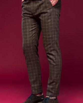 Клетчатые брюки коричневого цвета. Арт.:6-469-3