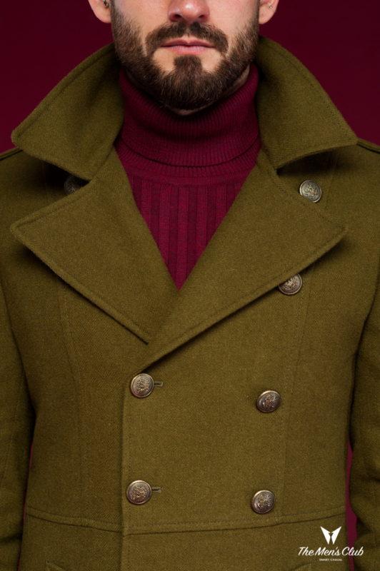 Пальто бушлат цвета хаки. Арт.:1-446-3
