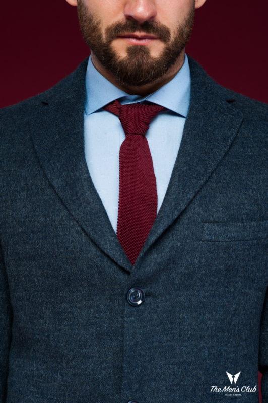 Классическое мужское пальто синего цвета. Арт.:1-447-3