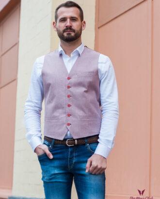 Мужская жилетка розового цвета V-420SM
