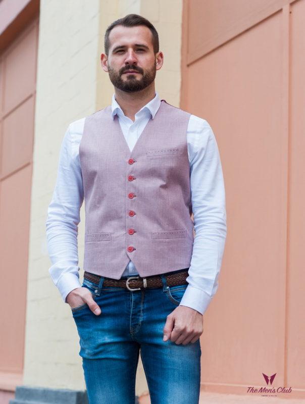 Мужская жилетка розового цвета. Арт.:3-420-3