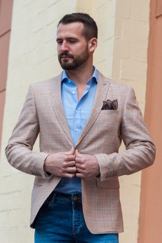 Стильный мужской пиджак в крупную клетку. Арт.:2-401-4