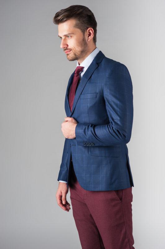 Синий мужской пиджак в клетку. Арт.:2-221-3