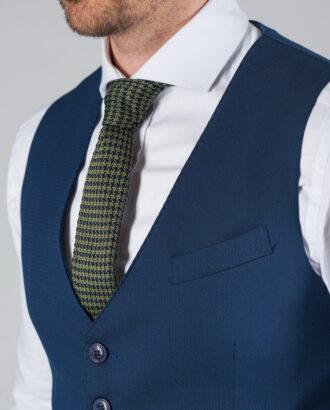 Мужской синий жилет без лацканов V-020SM