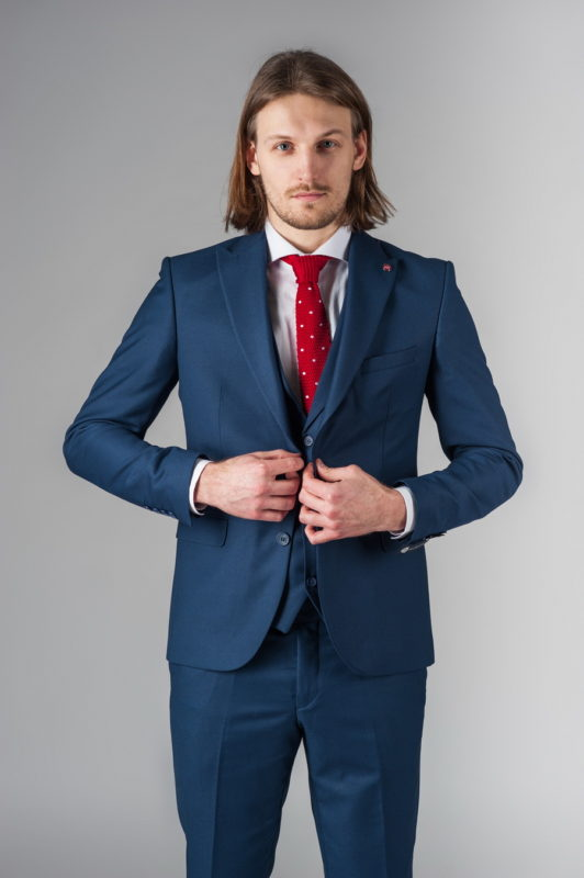 Синий костюм-тройка приталенного кроя. Арт.:4-213-1