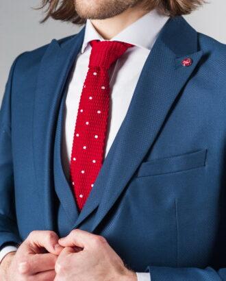 Синий костюм-тройка приталенного кроя S-213SC