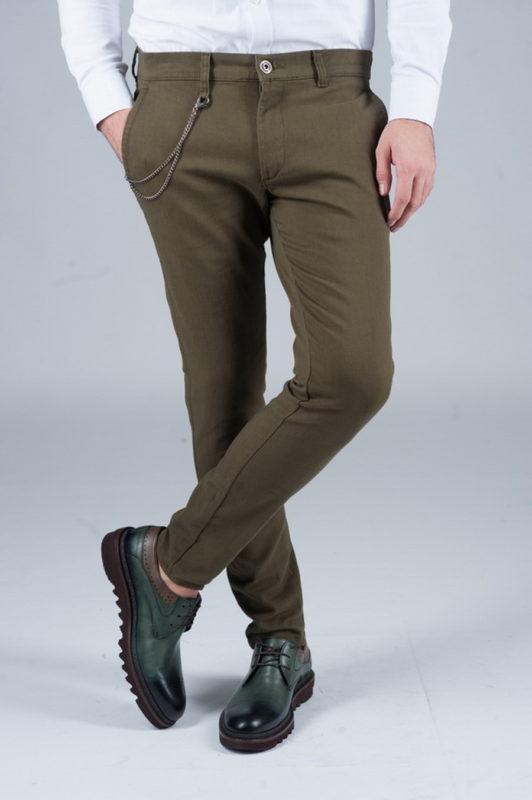 Зауженные брюки цвета хаки . Арт.:6-242-1