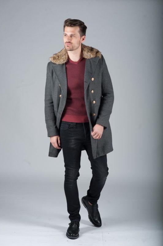 Шерстяное пальто-шинель серого цвета. Арт.:1-264-3
