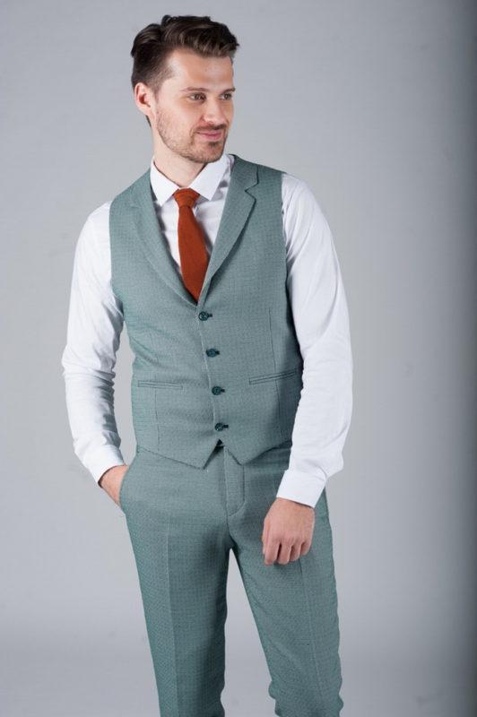 Костюм-двойка зеленого цвета (жилет и брюки). Арт.:4-271-5