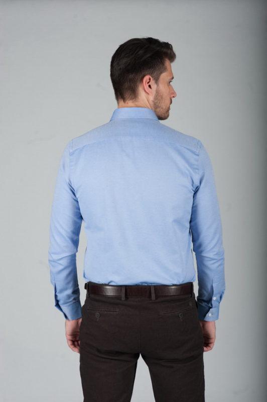 Голубая приталенная рубашка из фактурной ткани. Арт.:5-276-3