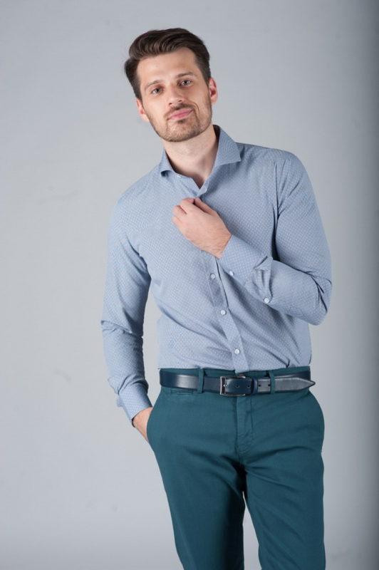 Приталенная рубашка с французским воротником. Арт.:5-277-3