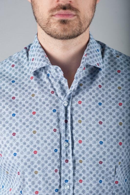 Рубашка с мелким цветочным принтом. Арт.:5-279-8