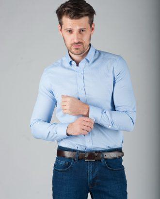 Голубая рубашка с классическим воротником. Арт.:5-282-3