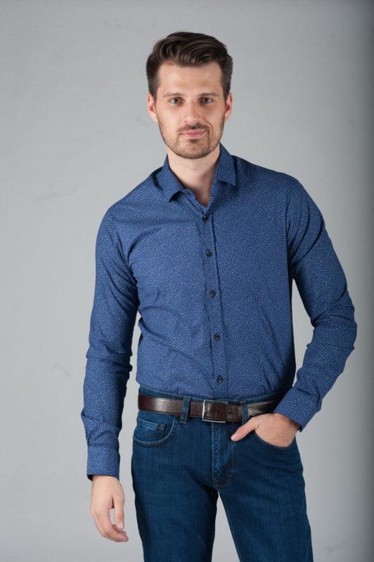 Стильная синяя рубашка с принтом. Арт.:5-283-8
