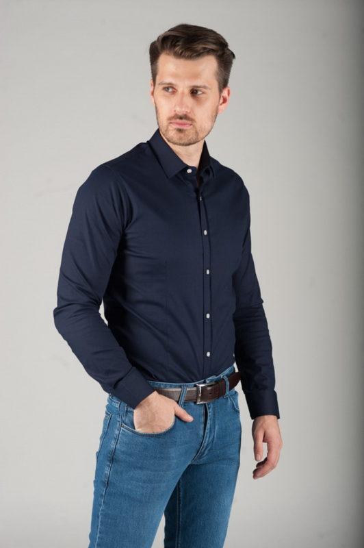 Рубашка черного цвета из фактурной ткани. Арт.:5-285-3