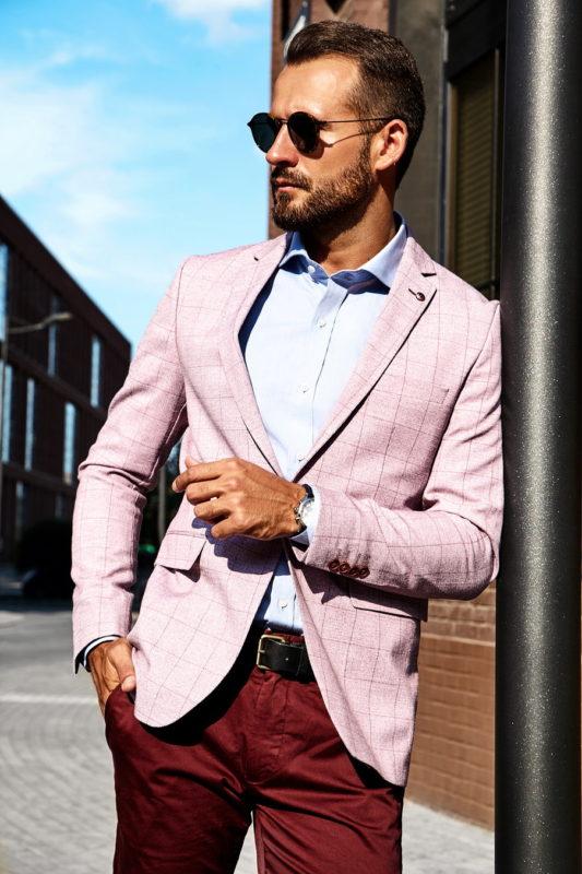Розовый пиджак в клетку. Арт.:2-052-2