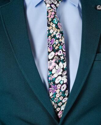 Яркий галстук с цветочным принтом. Арт.:10-44