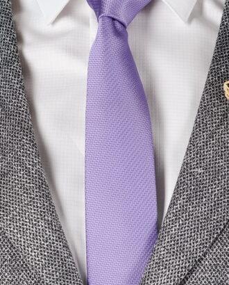 Сиреневый галстук  из жаккардовой ткани ti-010j