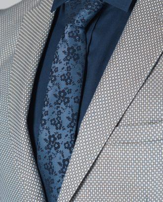 Синий галстук с цветочным принтом. Арт.:10-55