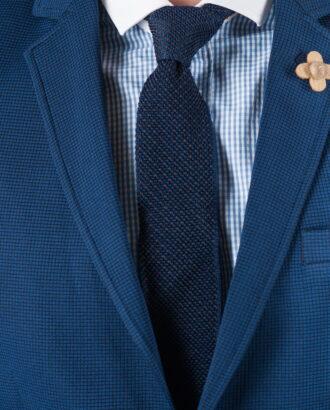 Вязанный галстук темно-синего цвета ti-025k