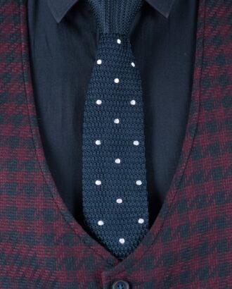 Фактурный галстук темно-синего цвета в белый горошек ti-026k