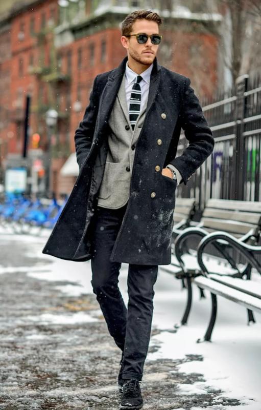 Теплое зимнее мужское пальто