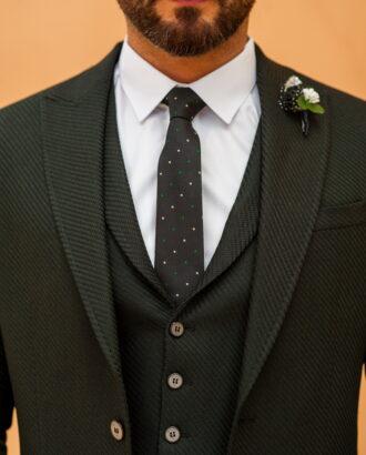 Мужской костюм из пиджака и жилета черного цвета S-525OW