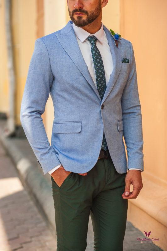 Мужской пиджак голубого цвета. Арт.:2-526-4