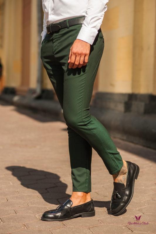 Модные мужские брюки зеленого цвета. Арт.:6-526-1