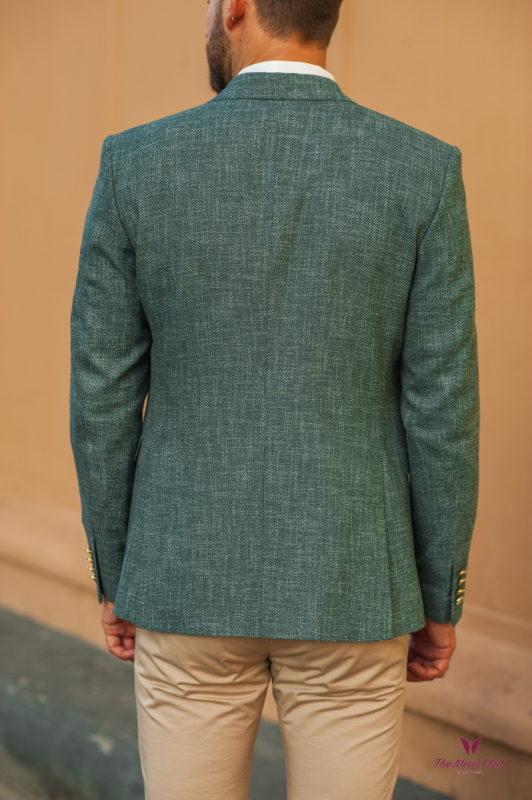 Зеленый костюм-двойка (пиджака и жилета). Арт.:4-527-4