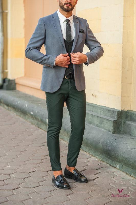 Стильный мужской пиджак серого цвета. Арт.:2-534-2