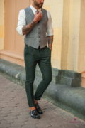Костюмный  мужской жилет серого цвета. Арт.:3-535-5
