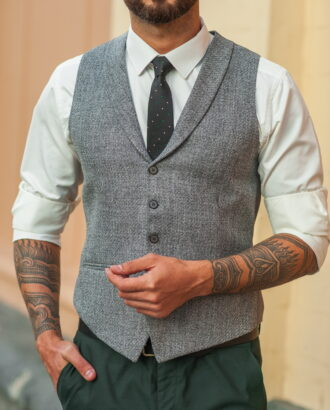 Костюмный  мужской жилет серого цвета. Арт.:03-535-5