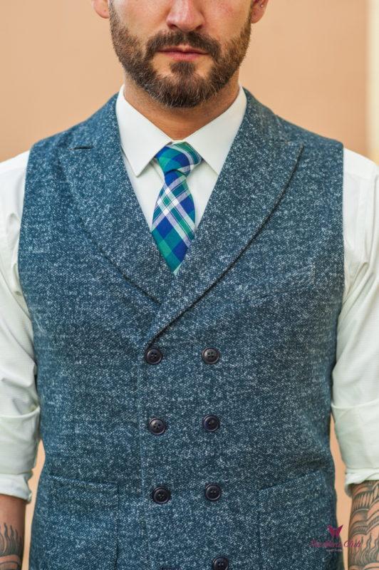 Фактурный мужской жилет синего цвета. Арт.:3-536-3