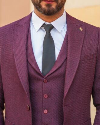 Мужской костюм из пиджака и жилета бордового цвета S-537OW