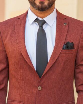 Приталенный мужской пиджак коричневого цвета. Арт.:2-538-5
