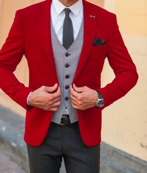 Ярко-красный мужской пиджак. Арт.:2-539-1