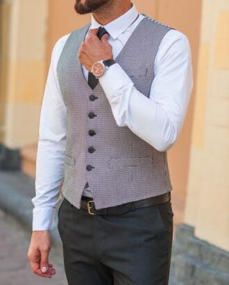 Стильный мужской жилет серого цвета. Арт.:03-539-3