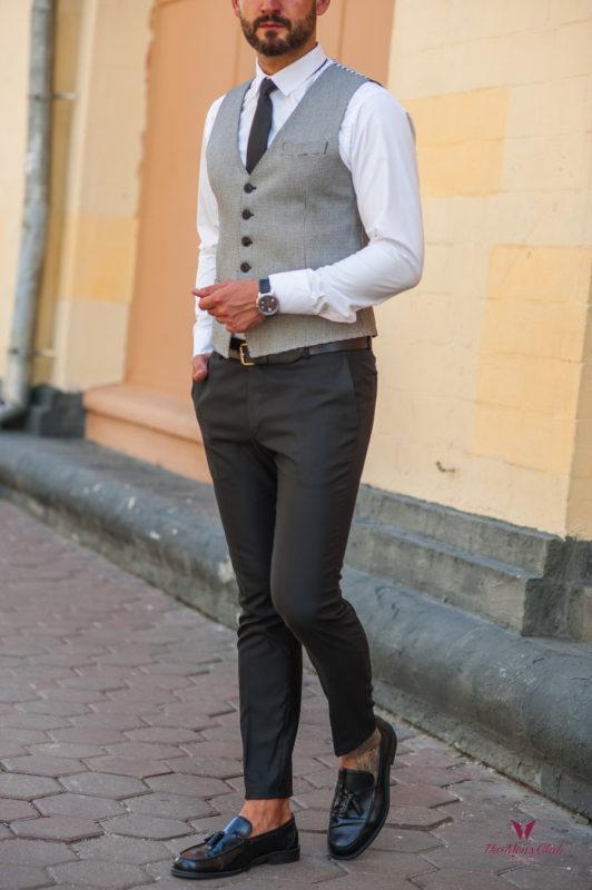 Стильный мужской жилет серого цвета. Арт.:3-539-3