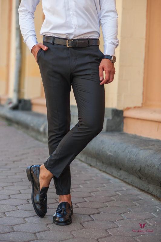 Мужские зауженные брюки черного цвета. Арт.:6-539-3
