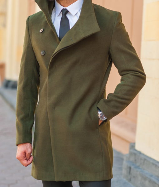 Модное мужское пальто зеленого цвета. Арт.:1-541-2