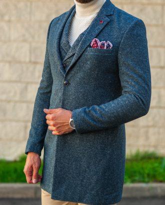 Стильное мужское пальто синего цвета. Арт.:1-543-3