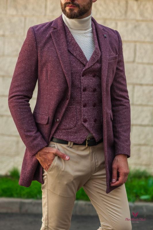 Приталенное мужское пальто цвета бордо. Арт.:1-544-3