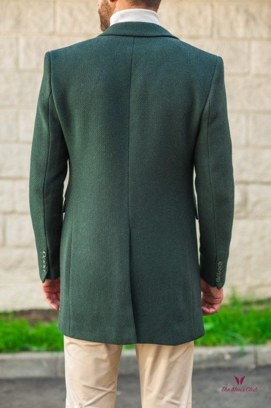 Зеленое мужское пальто приталенного кроя. Арт.:1-545-3