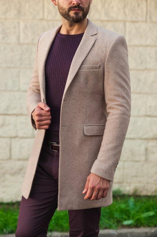 Мужское пальто бежевого цвета. Арт.:1-501-3