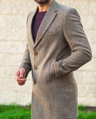 Приталенное мужское пальто серого цвета C-521SM