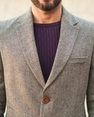 Приталенное мужское пальто серого цвета. Арт.:1-521-2