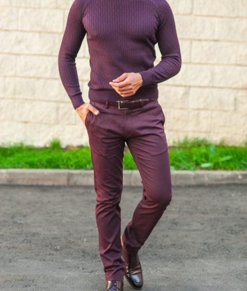 Мужские брюки бордового цвета. Арт.:6-501-2