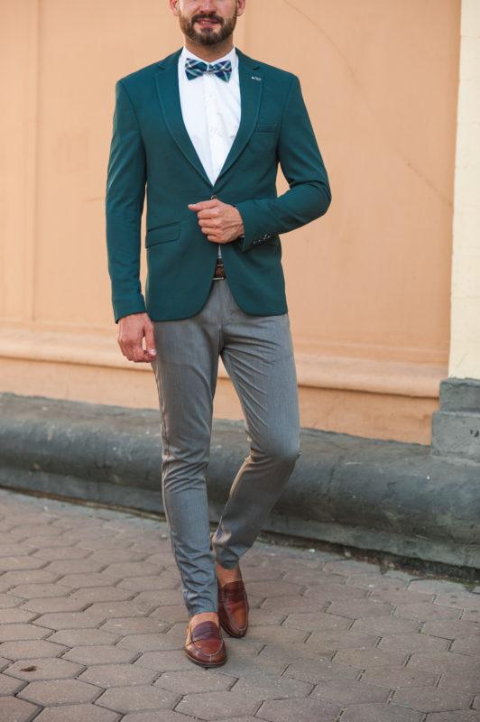 Приталенный пиджак зеленого цвета. Арт.:2-502-1